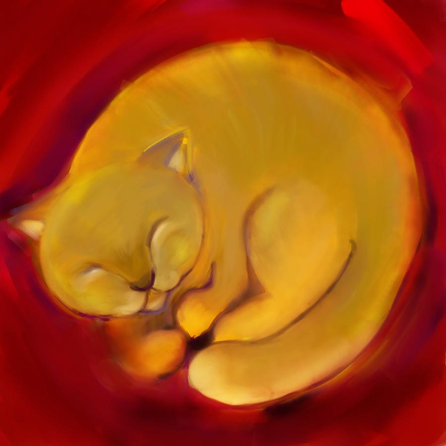 Colorful Cat Digital Art - Colorful Cat 1 by Anna Gora