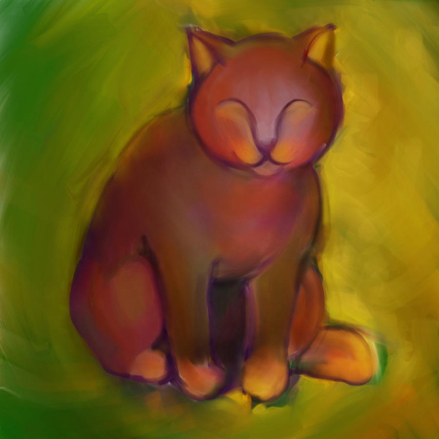 Colorful Cat Digital Art - Colorful Cat 2 by Anna Gora