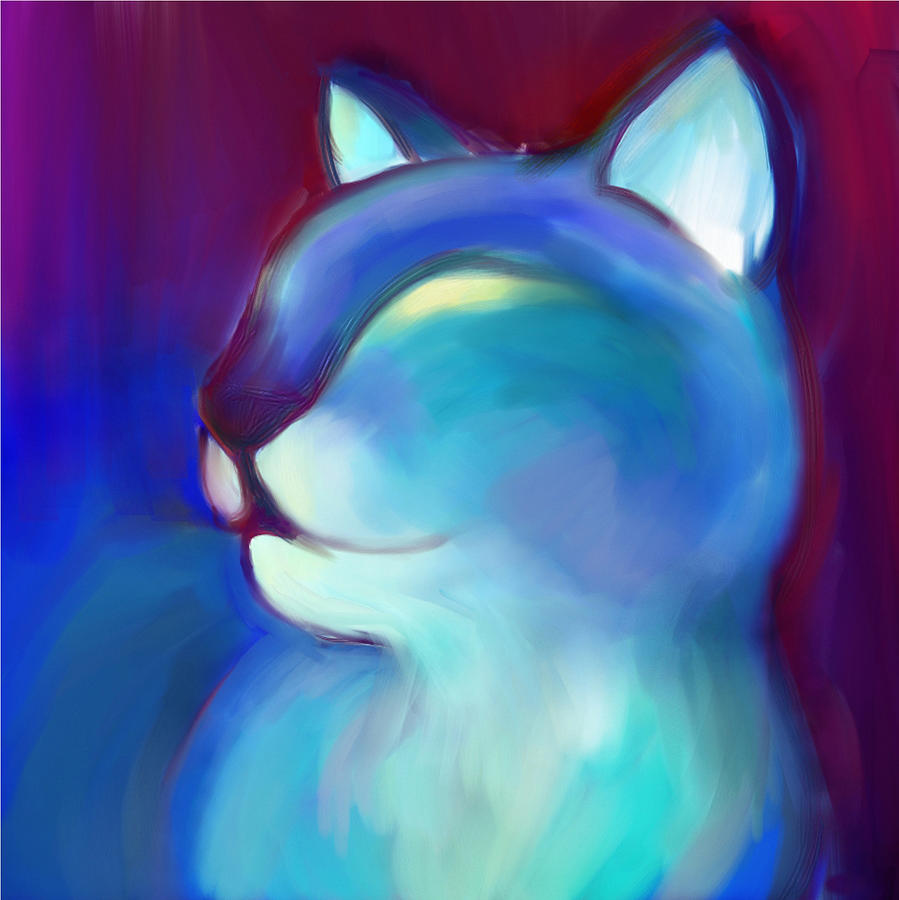 Colorful Cat Digital Art - Colorful Cat 3 by Anna Gora