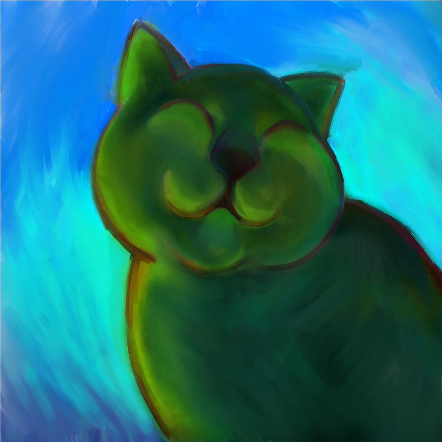 Colorful Cat Digital Art - Colorful Cat 4 by Anna Gora
