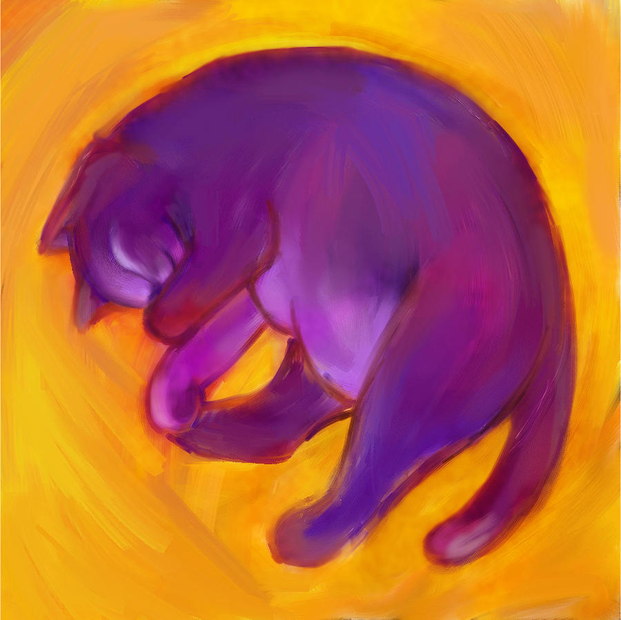 Colorful Cat Digital Art - Colorful Cat 5 by Anna Gora