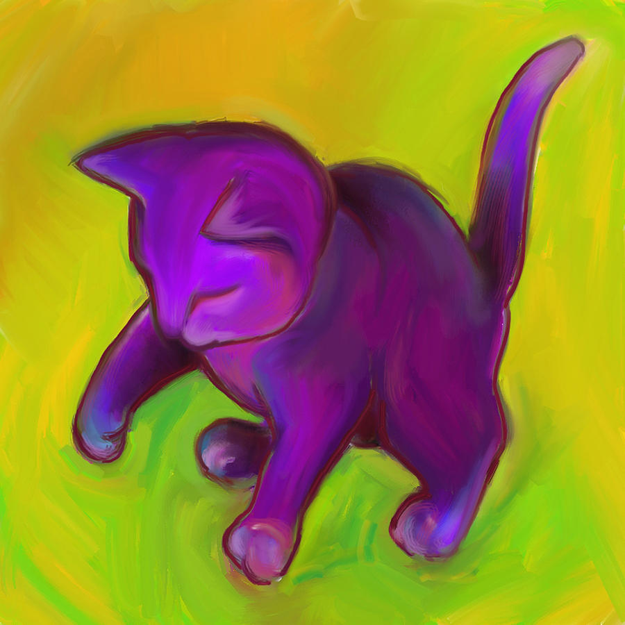 Colorful Cat Digital Art - Colorful Cat 7 by Anna Gora