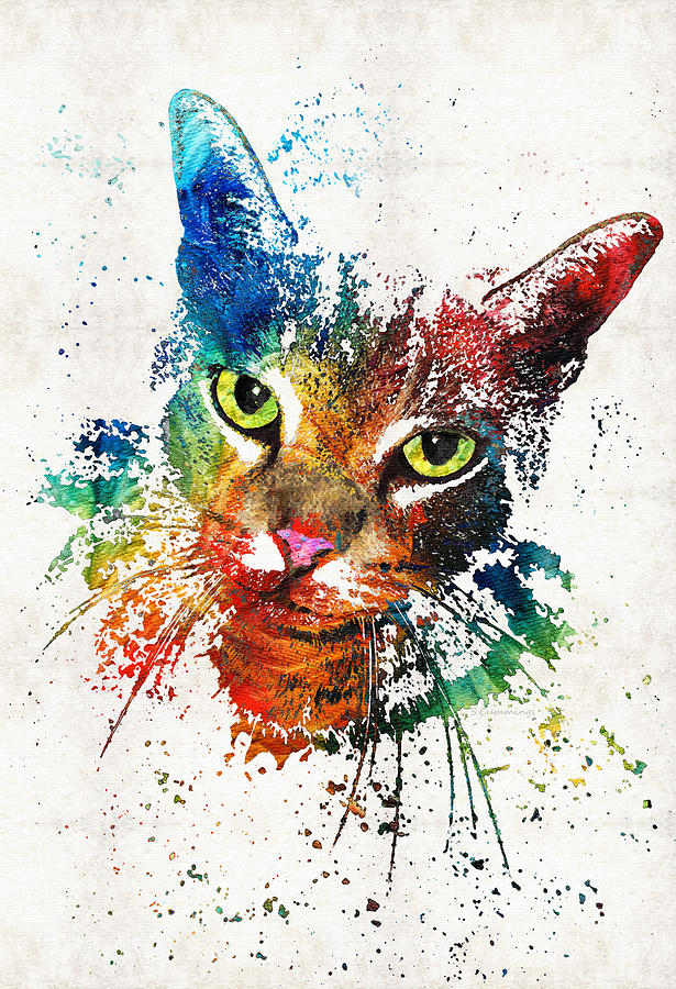 Cat Painting - Colorful Cat Art by Sharon Cummings by Sharon Cummings