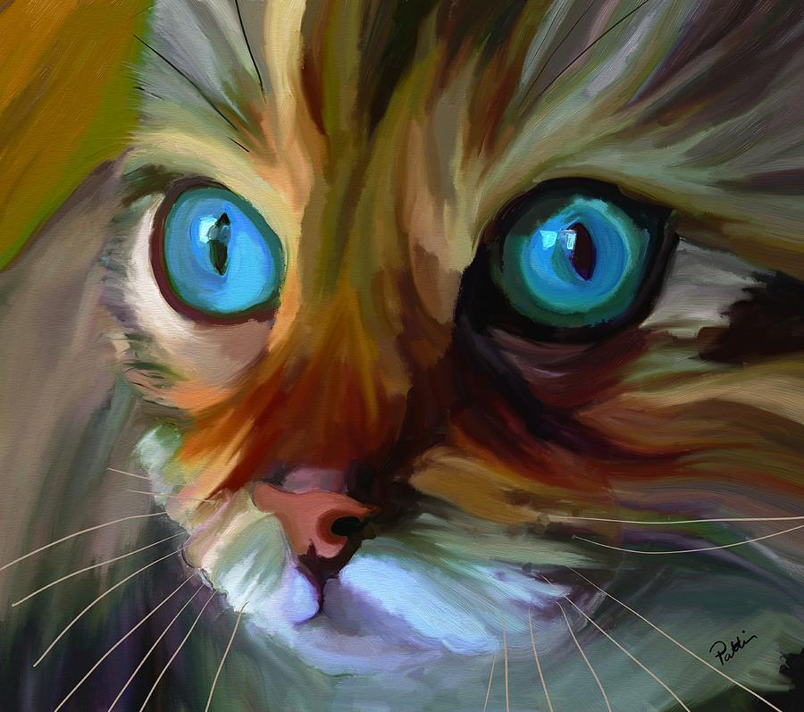 Colorful Cat Painting by Patti Siehien