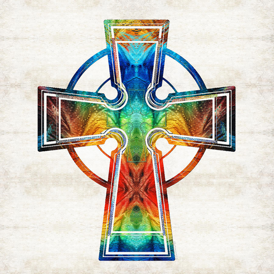 Celtic Cross Painting - Colorful Celtic Cross By Sharon Cummings by Sharon Cummings