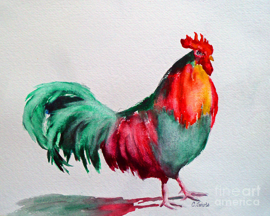 Colorful Chicken Painting By Carolyn Jarvis