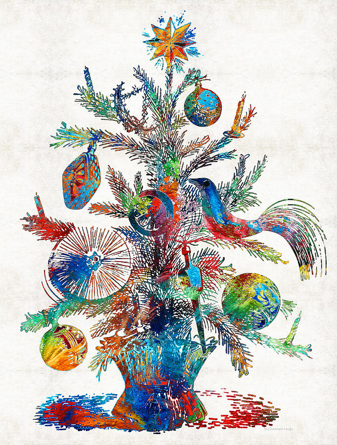 Christmas Painting - Colorful Christmas Tree Art by Sharon Cummings by Sharon Cummings