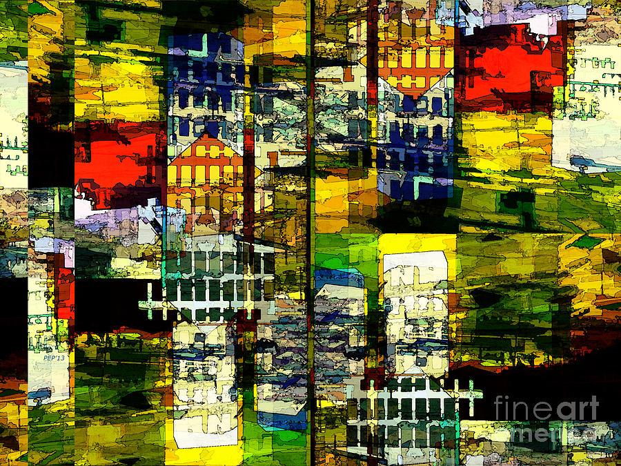 Urban Digital Art - Colorful City Scene by Phil Perkins