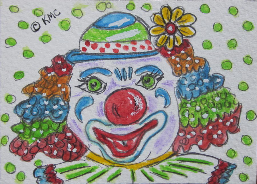 Colorful Painting - Colorful Clown by Kathy Marrs Chandler