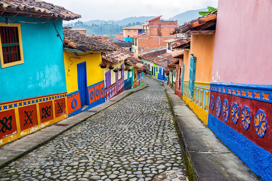 Colombia Photograph - Colorful Cobblestone Street by Jess Kraft