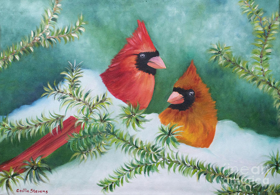 Cardinals Painting - Colorful Companions by Cecilia Stevens