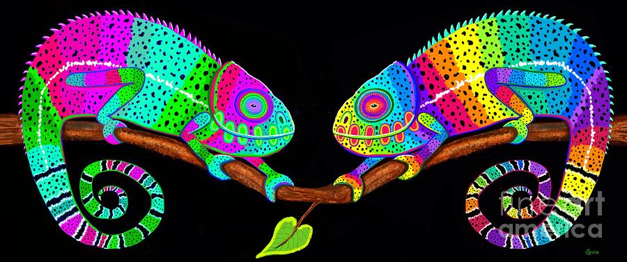 Chameleons Painting - Colorful Companions by Nick Gustafson