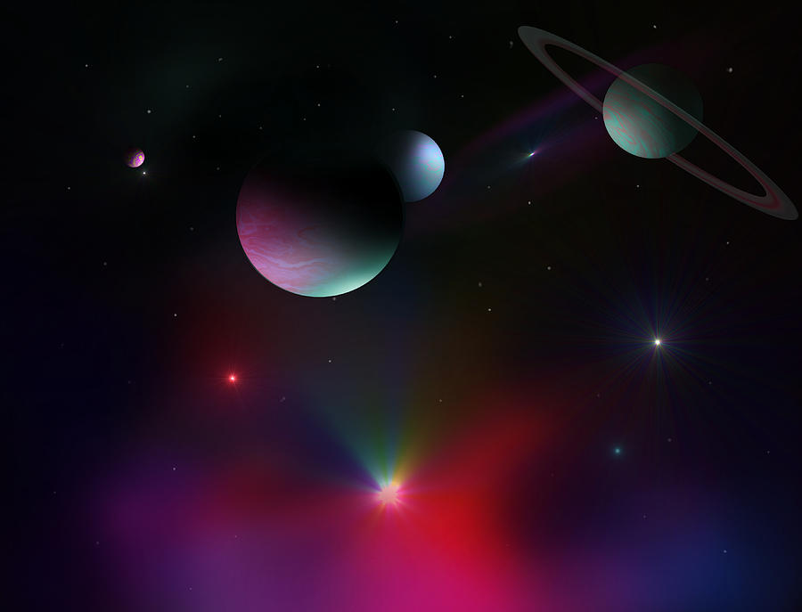 Planets Digital Art - Colorful Cosmos by Ricky Haug