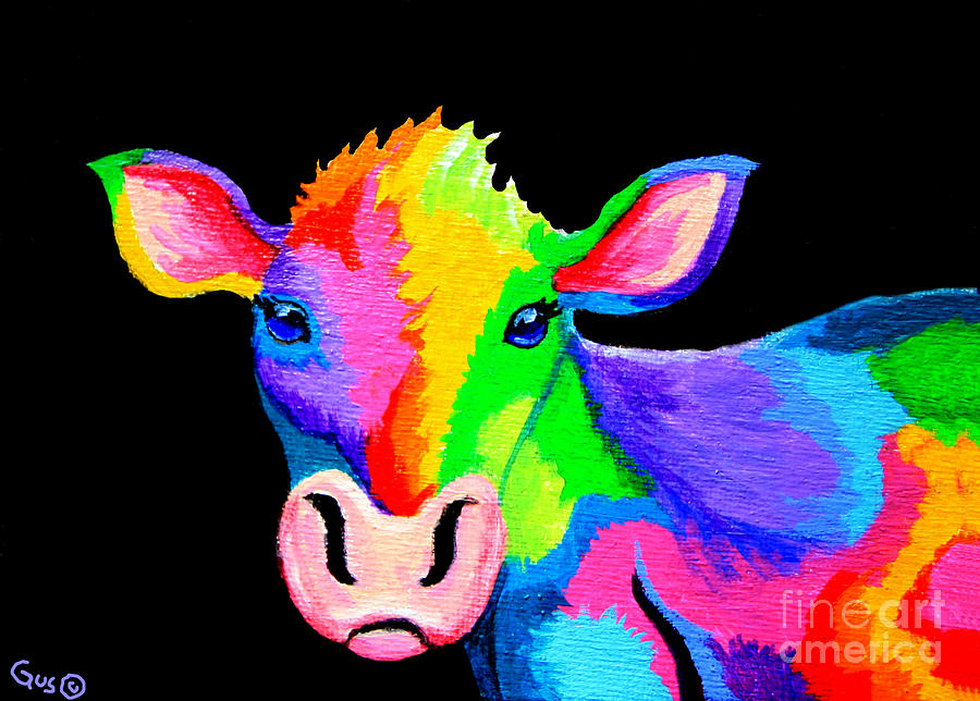 Cow Painting - Colorful Cow-cow-a-bunga by Nick Gustafson