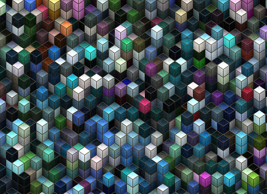 Abstract Painting - Colorful Cubes by Jack Zulli