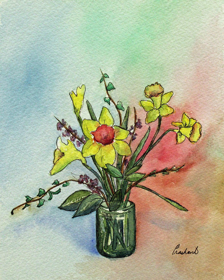 Daffodil Painting - Colorful Daffodil Flowers In A Vase by Prashant Shah