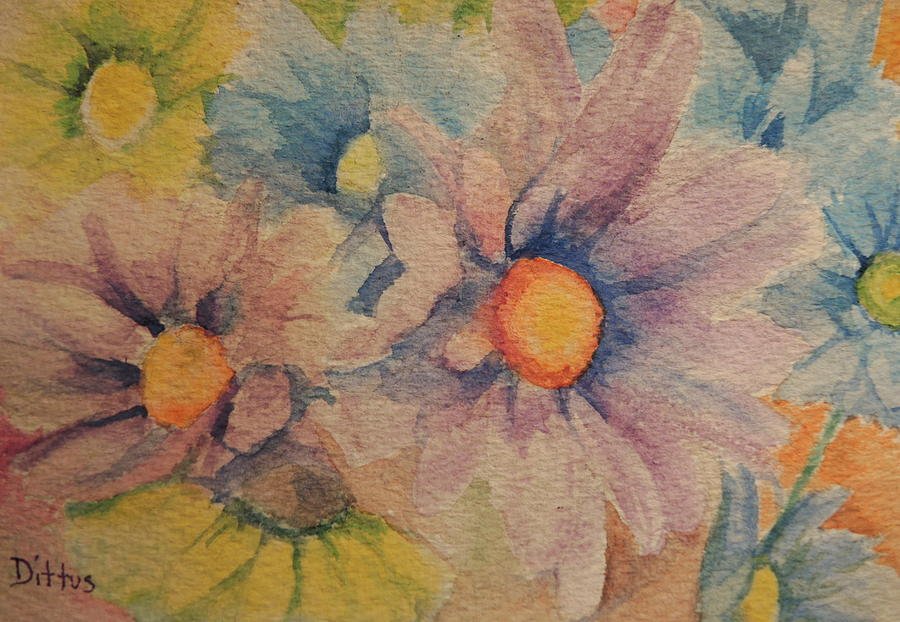 Daisies Painting - Colorful Daisies by Chrissey Dittus