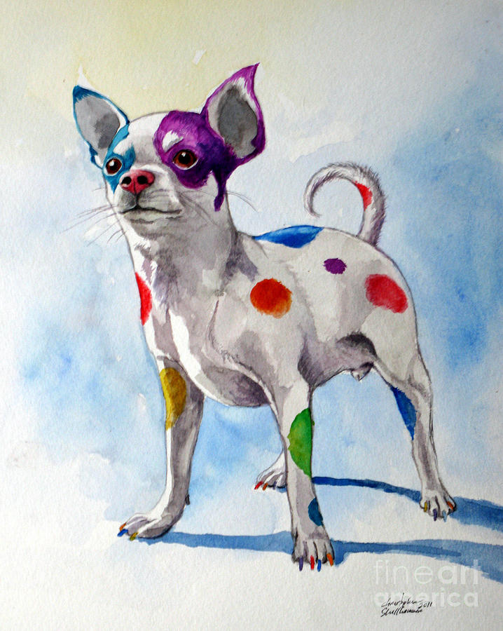Chihuahua Painting - Colorful Dalmatian Chihuahua by Christopher Shellhammer