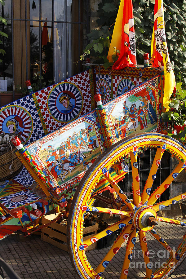 Colorful Decorated Horse Carriage Cefalu Palermo Sicily Italy Photograph