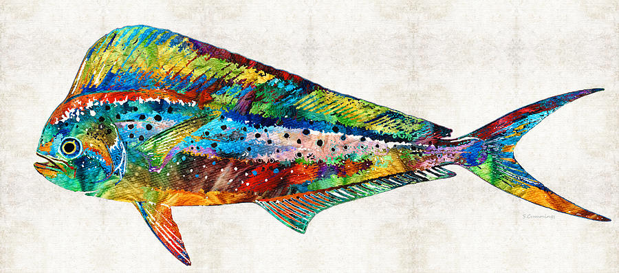 Fish Painting - Colorful Dolphin Fish by Sharon Cummings by Sharon Cummings
