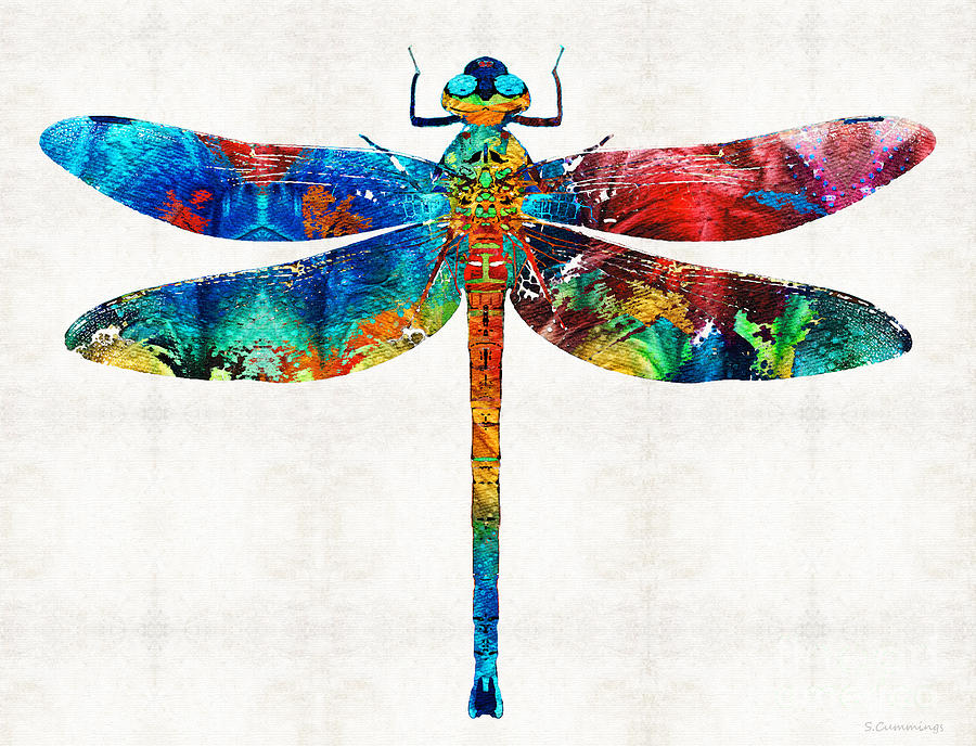 Dragonfly Painting - Colorful Dragonfly Art By Sharon Cummings by Sharon Cummings