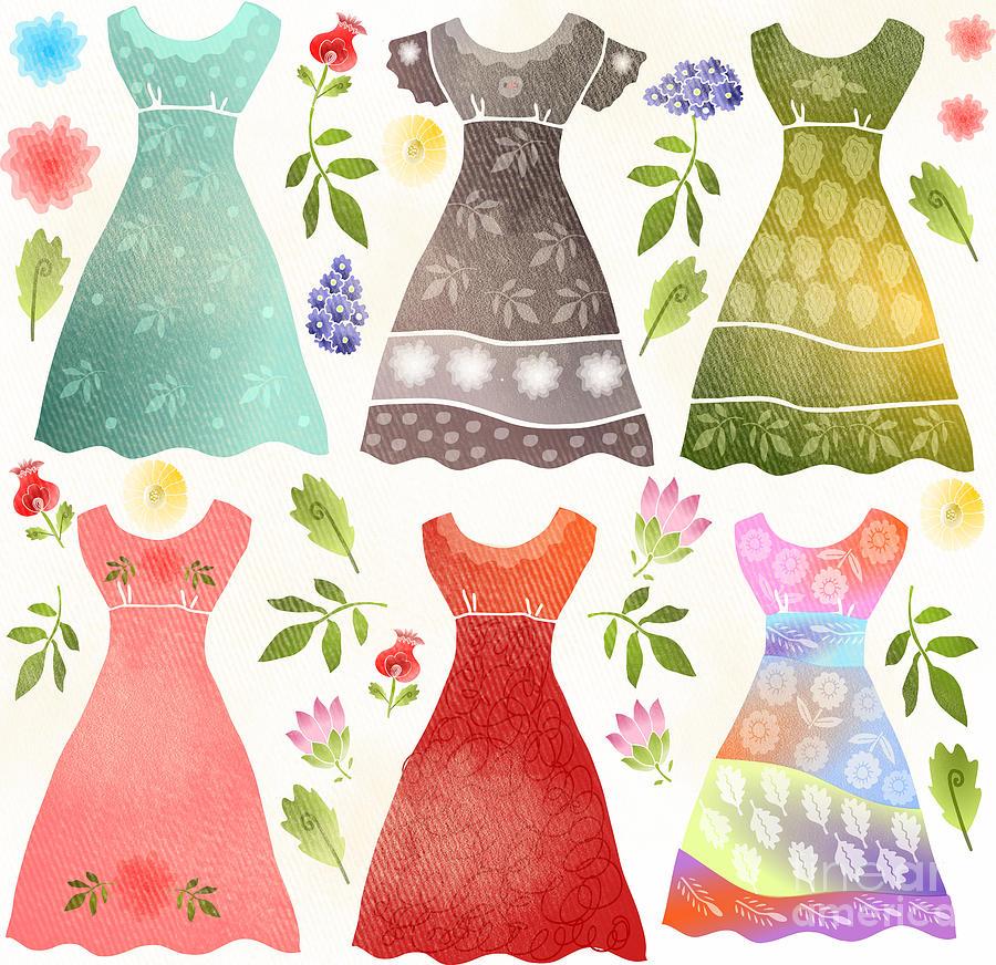 Dresses Digital Art - Colorful Dresses by Elaine Jackson