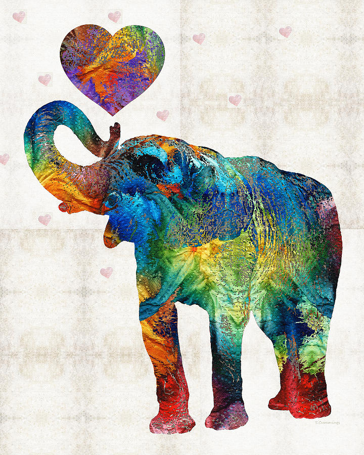 Colorful Elephant Art Elovephant By Sharon Cummings