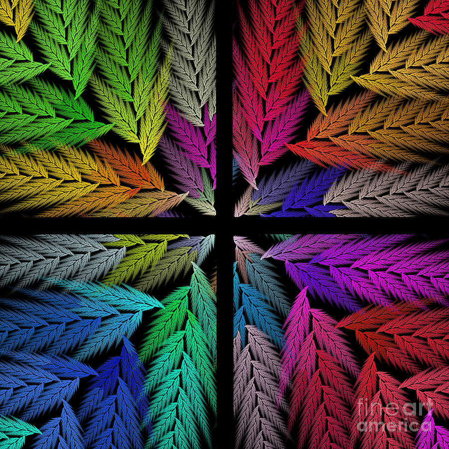 Abstract Digital Art - Colorful Feather Fern - 4 X 4 - Abstract - Fractal Art - Square by Andee Design