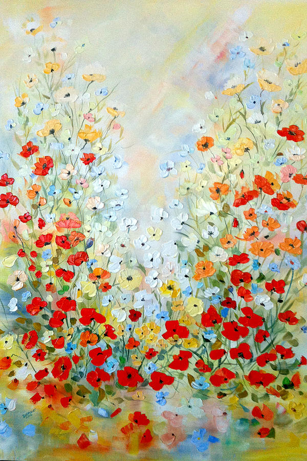 colorful field of poppies painting by dorothy maier, Beautiful flower