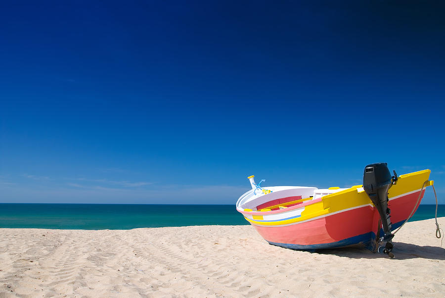 Boat Photograph - Colorful Fishing Boat Algarve Portugal by Amanda Elwell
