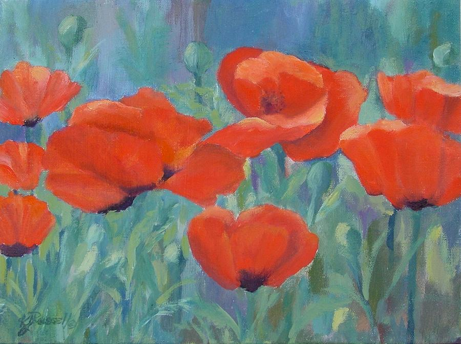 Colorful Flowers Red Poppies Beautiful Floral Art Painting