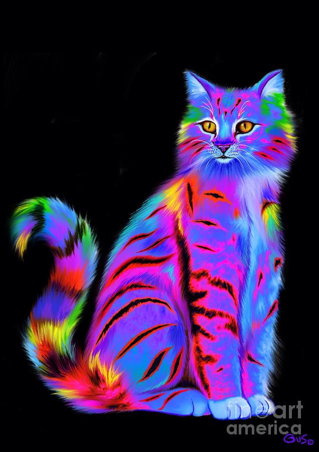 Colorful Fluffy Striped Cat Painting By Nick Gustafson
