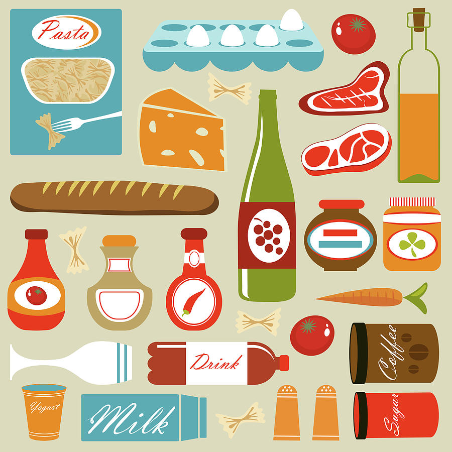 Colorful Food Icons Composition Digital Art by Olillia