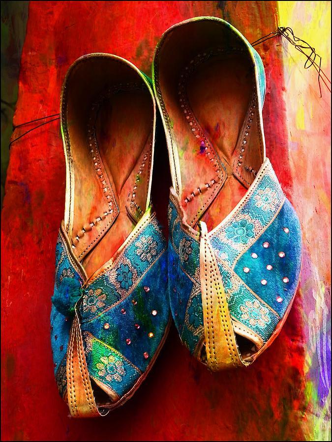 Colorful Footwear Juttis Sales Jaipur Rajasthan India by Sue Jacobi