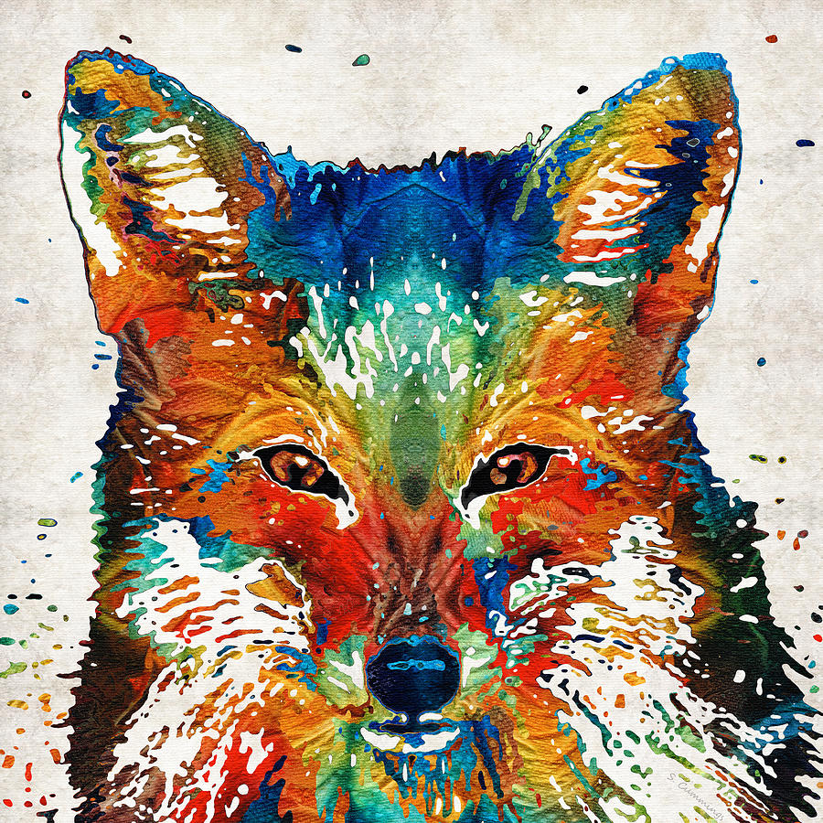 Fox Painting - Colorful Fox Art - Foxi - By Sharon Cummings by Sharon Cummings