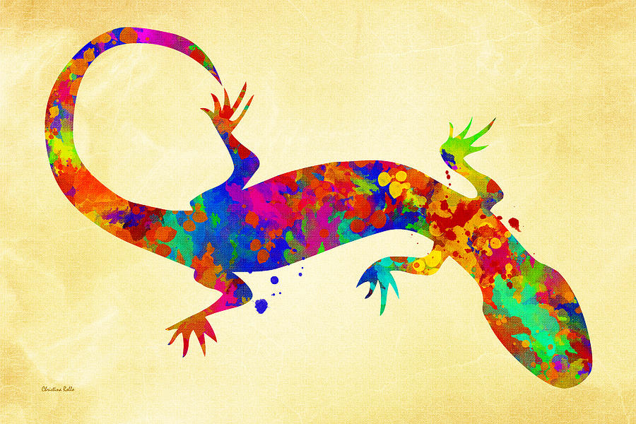 Gecko Watercolor Art Mixed Media by Christina Rollo