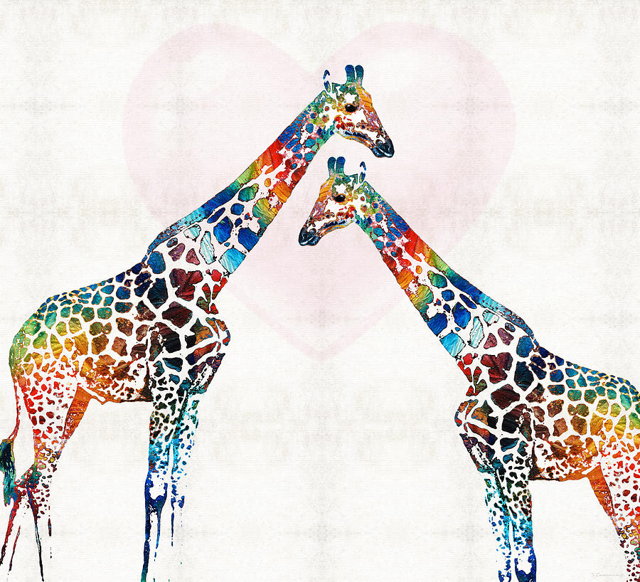Colorful Giraffe Art Ive Got Your Back By Sharon Cummings