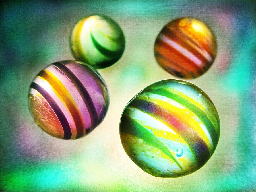 Glass Photograph - Colorful Glass Marbles by Marianna Mills