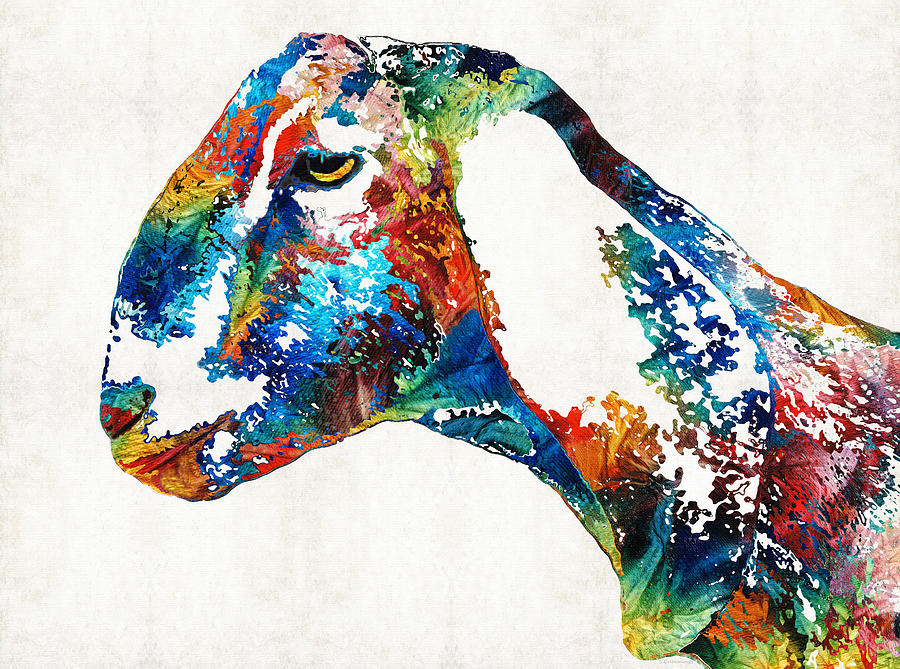 Goat Painting - Colorful Goat Art By Sharon Cummings by Sharon Cummings