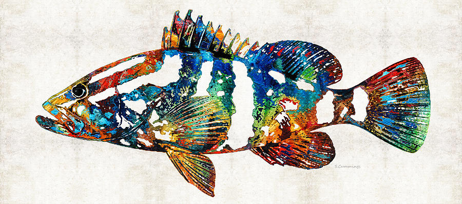 Fish Painting - Colorful Grouper 2 Art Fish By Sharon Cummings by Sharon Cummings