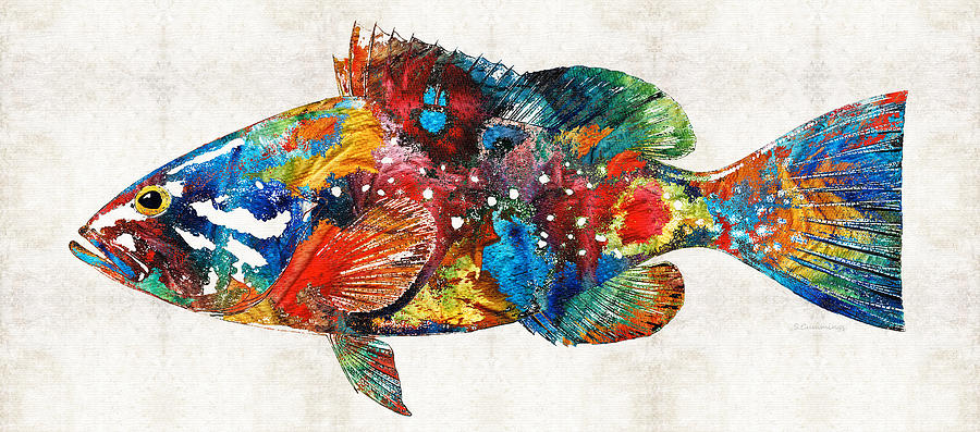 Fish Painting - Colorful Grouper Art Fish by Sharon Cummings by Sharon Cummings