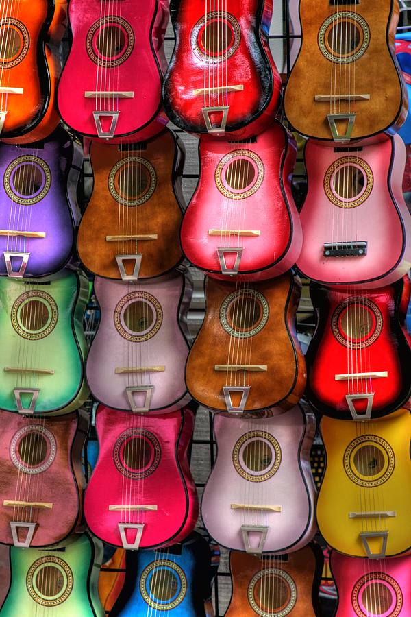 Guitars Photograph - Colorful Guitars by Tony  Colvin