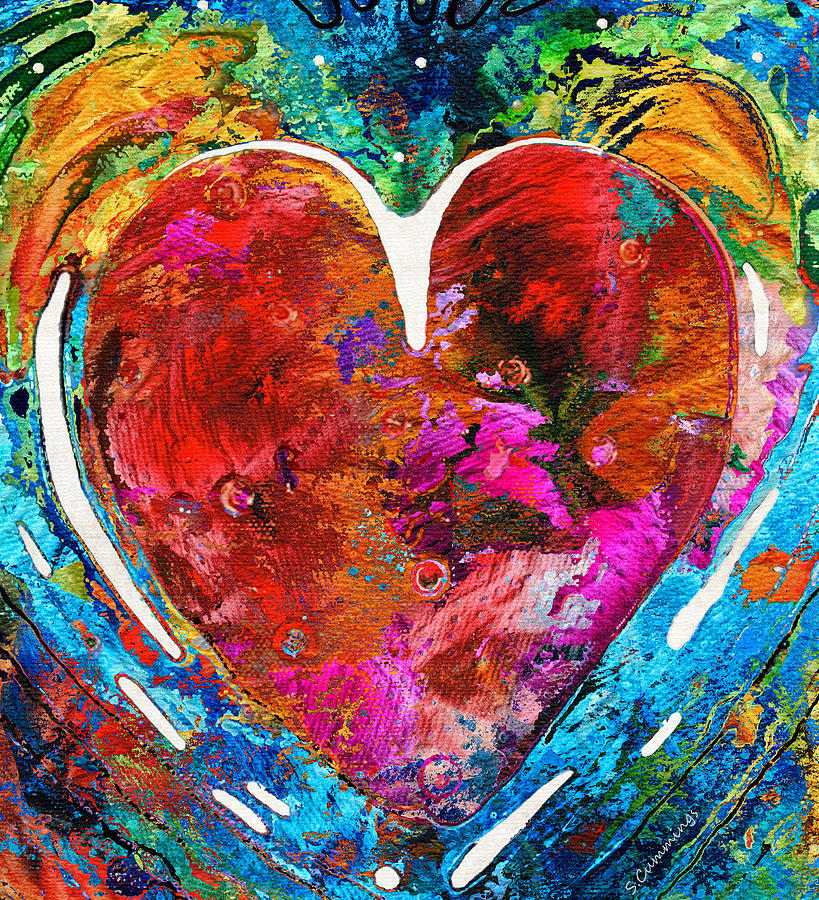 Heart Painting - Colorful Heart Art - Everlasting - By Sharon Cummings by Sharon Cummings