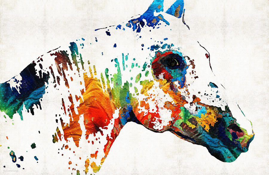 Animal Painting - Colorful Horse Art - Wild Paint - By Sharon Cummings by Sharon Cummings