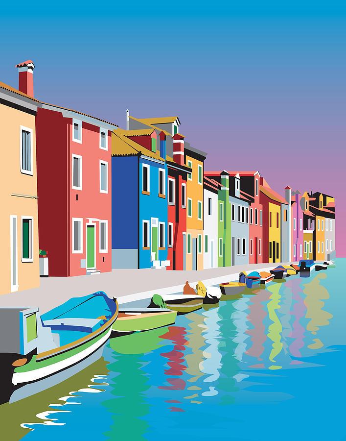 Colorful Houses Digital Art by Robert Korhonen