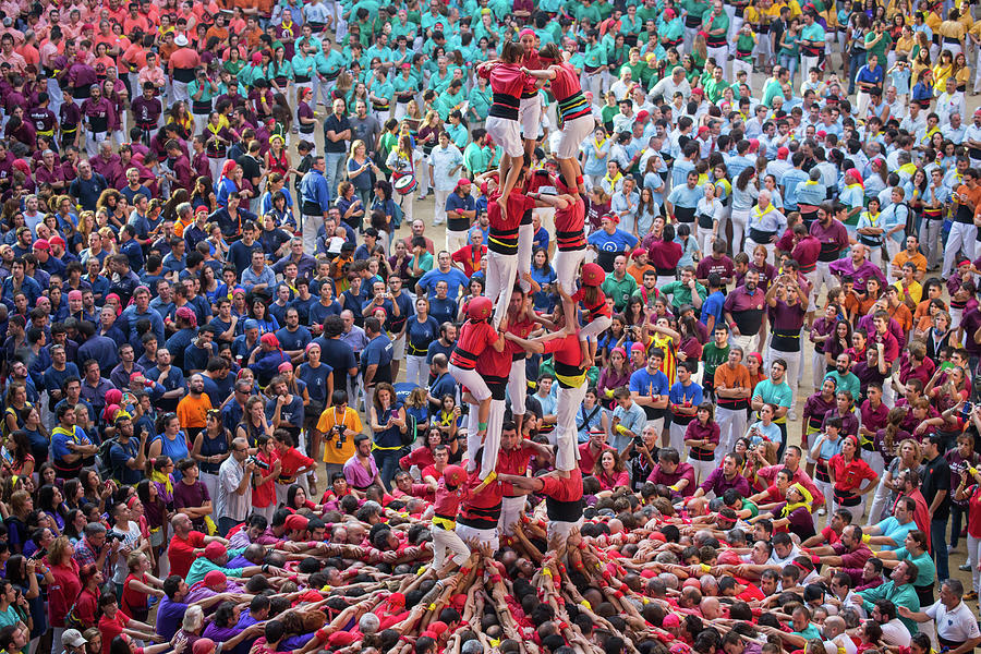 Colorful Human Towers Castellers View Photograph by Artur Debat