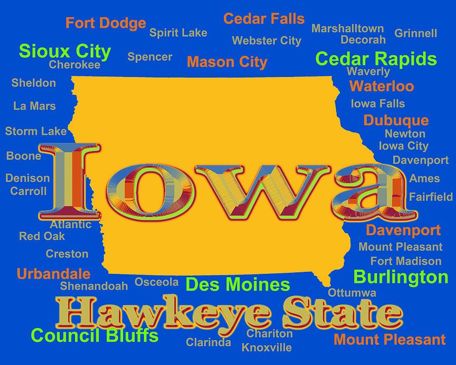 Colorful Iowa State Pride Map Silhouette Photograph