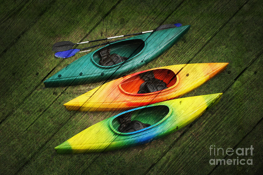 Background Digital Art - Colorful Kayaks by Suzi Nelson