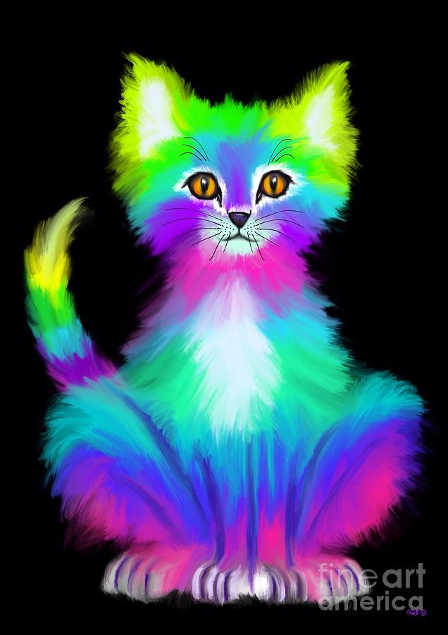 Colorful Kitty Painting By Nick Gustafson