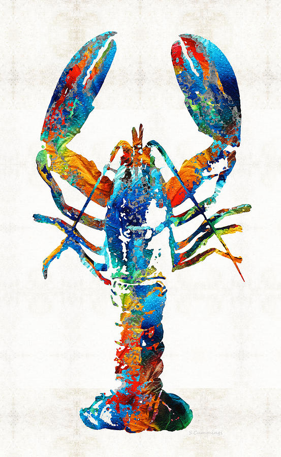 Lobster Painting - Colorful Lobster Art by Sharon Cummings by Sharon Cummings